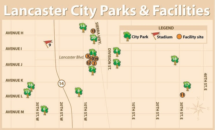 Map of Lancaster City Parks and Facilities.