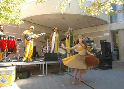 Performers giving a concert outside LPAC.