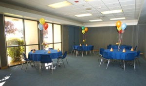 Interior view of Kleiner game room decorated for a party.