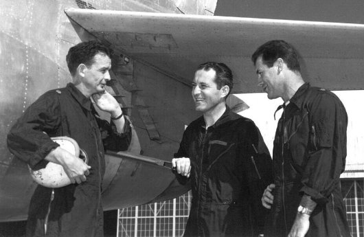Left to Right: Jackie Ridley, Fred Ascani & Chuck Yeager, Edwards AFB, 1950-53.