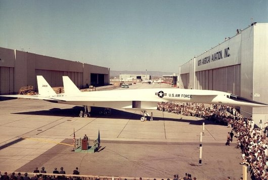 The rollout of the North American XB-70 Valkyrie with Fred J. Ascani at podium.