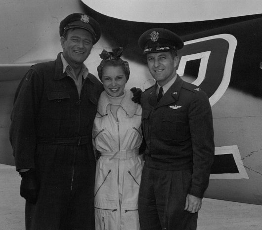 John Wayne, Janet Leigh & Fred J. Ascani at Edwards AFB on the JET PILOT movie set.