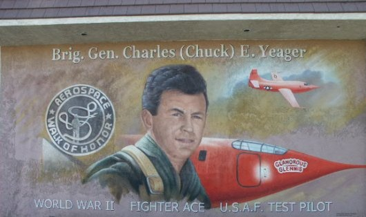 Chuck Yeager mural at Date Ave. and Lancaster Blvd.